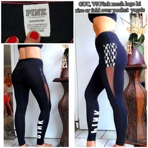 GUC, Vs pink hi rise mesh pocket logo yoga's